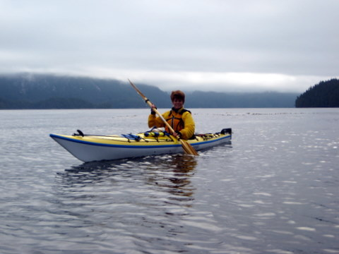 Trish in her kayak in Sullivan Bay
